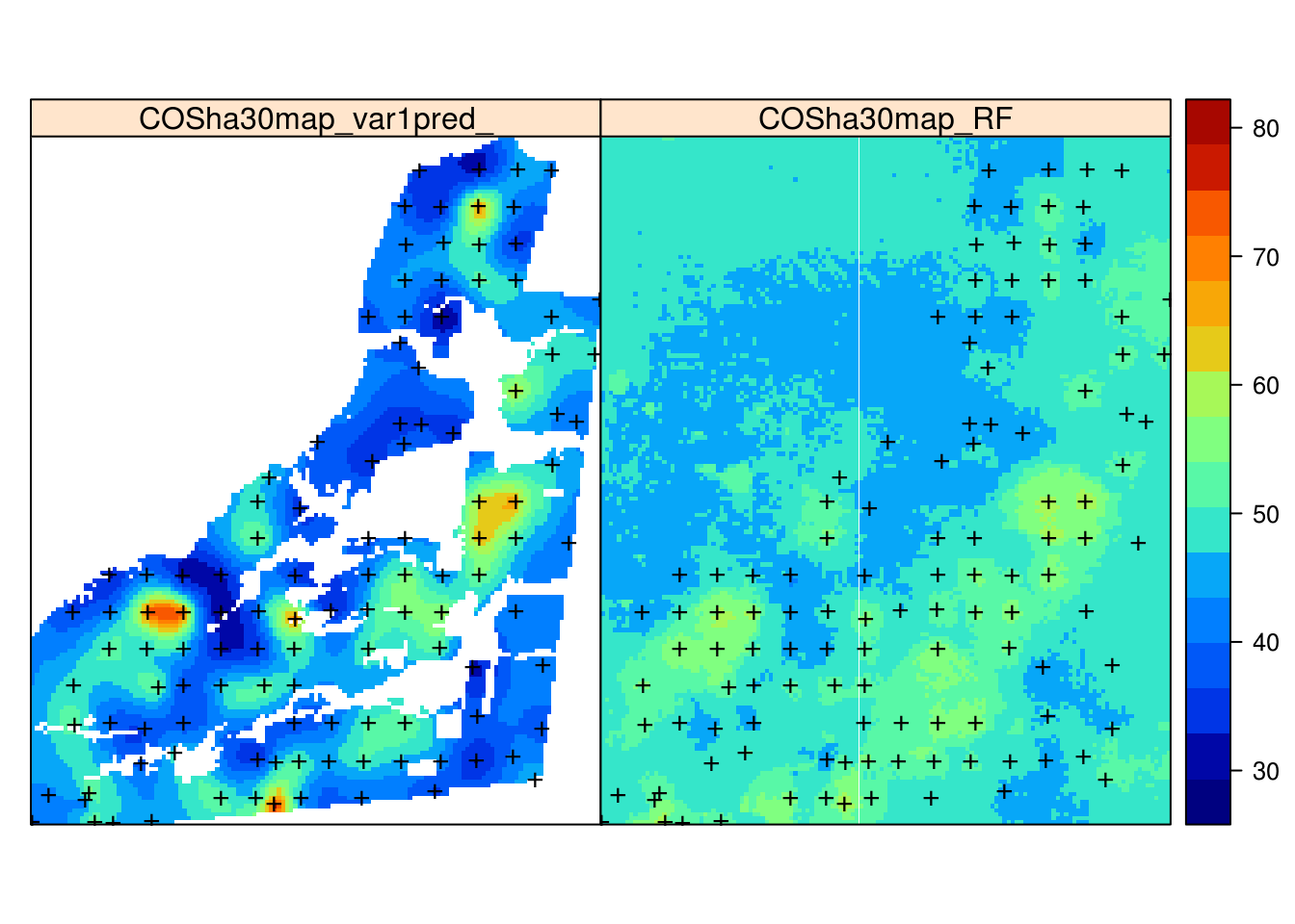 Comparison of predictions generated using ordinary kriging (left) and machine learning with the help of 30 m resolution covariates and buffer distances (right).