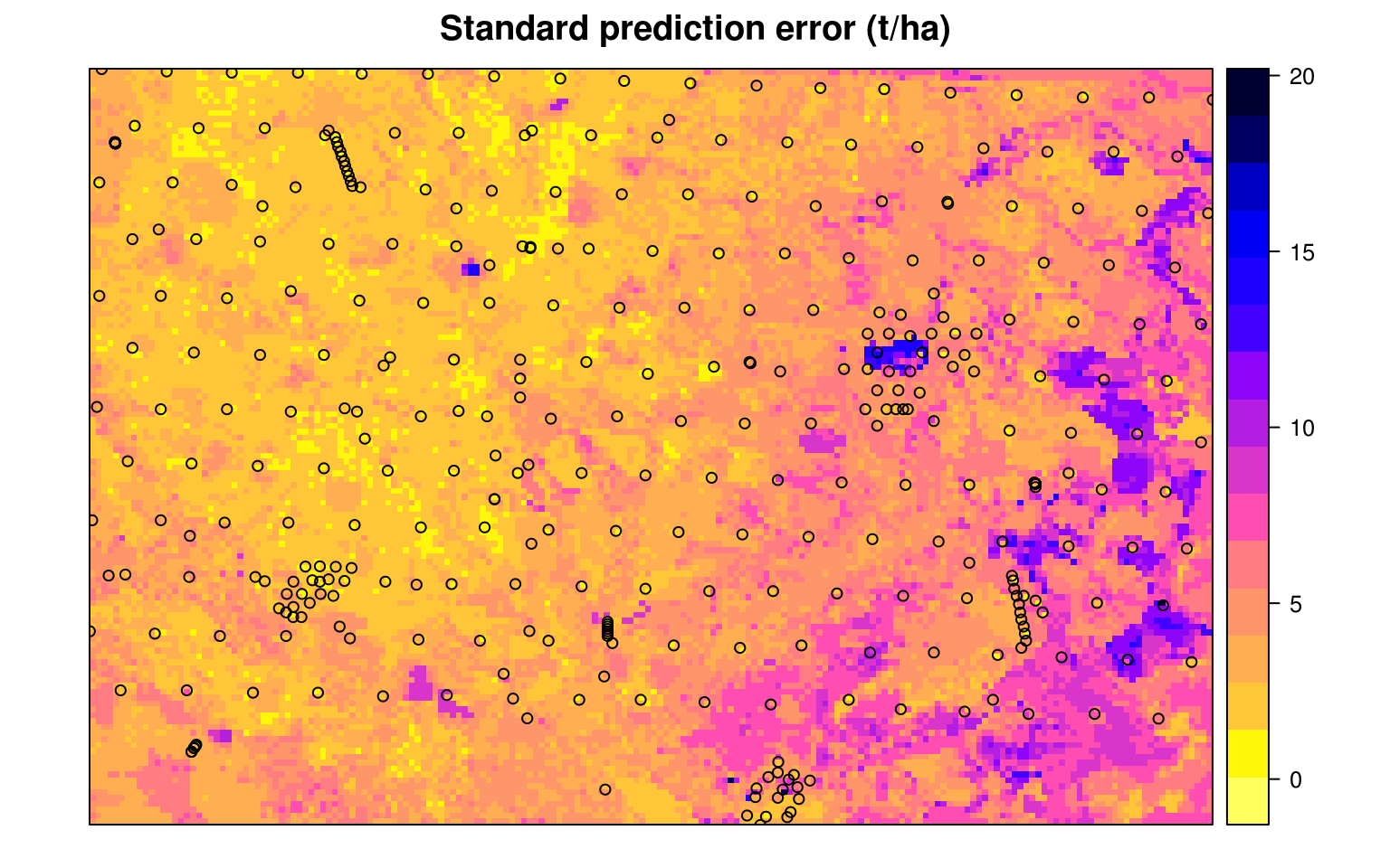 The prediction error map for the Edgeroi data set.