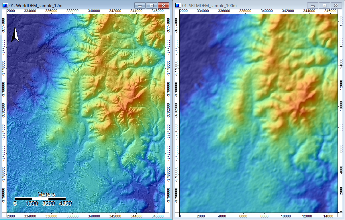 Evolution of global DEM data sources: (right) SRTM DEM at 100 m released in 2002, as compared to (left) WorldDEM at 12 m released in 2014 (Baade et al., 2014). Sample data set for city of Quorn in South Australia. As with many digital technologies, the level of detail and accuracy of GIS and remote sensing data is exhibiting exponential growth.