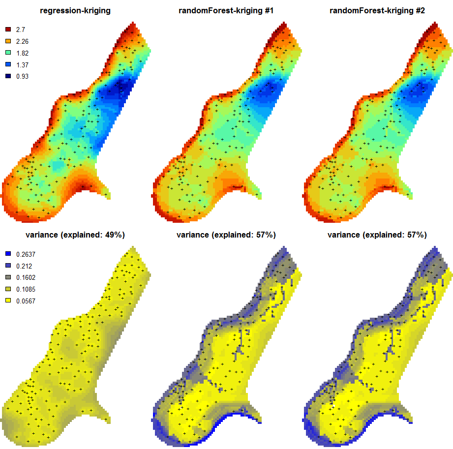 Predictions of the organic carbon (log-transformed values) using random forest vs linear regression-kriging. The random forest-kriging variance has been derived using the quantregForest package.
