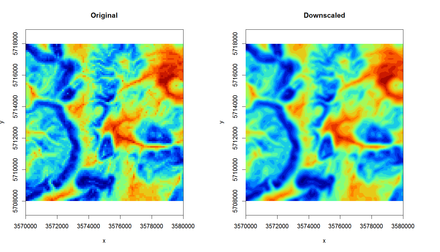 Original TWI vs downscaled map from 100 m to 25 m.